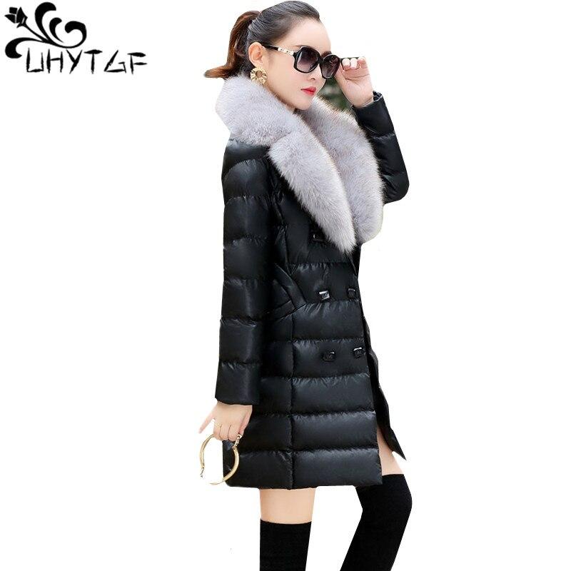UHYTGF New Winter Sheepskin   Leather   Jacket Women Fur collar Plus Velvet Thicken Down Jacket Slim   Leather   Warm long Outerwear 908