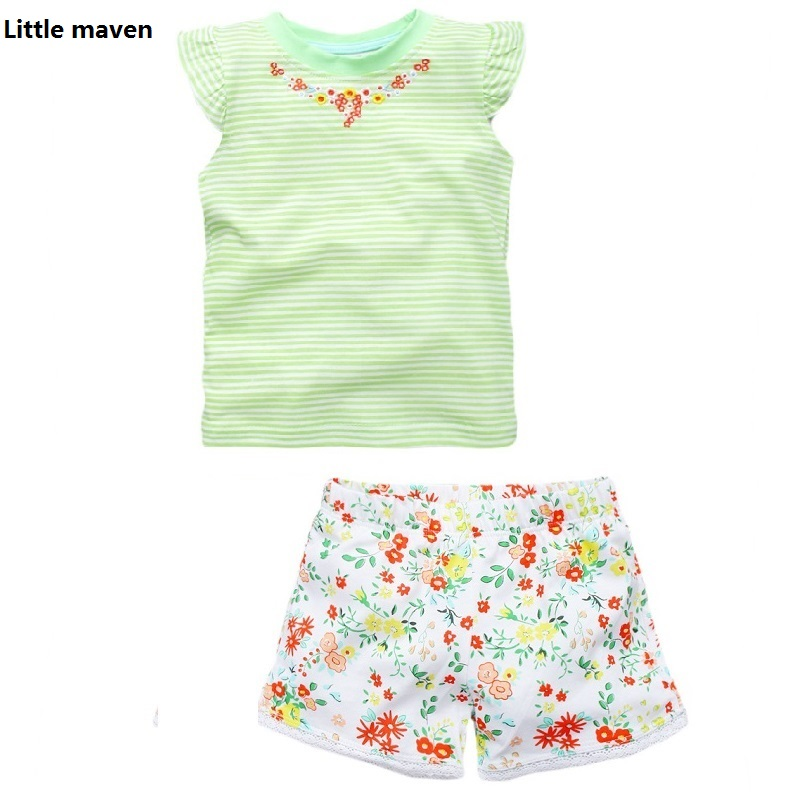2017 New Brand Girl Set Little Maven 1-6 Years Flower Printing Summer Set 100% Cotton Short T-shirt+Pant Children Set KF209 2017 little maven 1 6 years baby girls set quality brand short sleeve t shirt shorts 100% cotton kids summer clothes set kf175