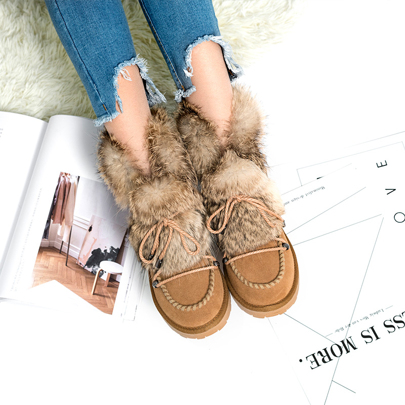 ФОТО 2017 Brand New Women Shoes Winter Fashion Leather Shoes For Women Warm Wool Fur Furry Lady Snow Boots Ugs Australia Boots Women