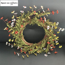 Artificial silk rose daisy wreath wedding scene decoration fake flower wreath seaside holiday headdress Valentine's Day gift(China)