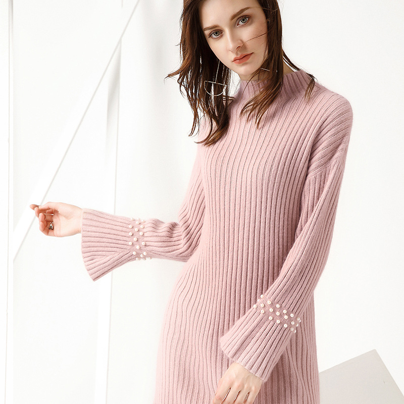 Women Party Pencil Dress Office Ladies Star Sexy Split Pink Beige Knitted Pencil Dress Three Quarter Flare Sleeve Slim Dress