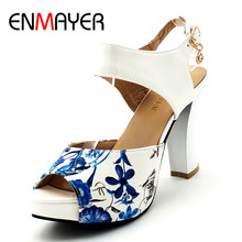 ENMAYER Summer Women Fashion Sandals Pumps Shoes Ankle Strap Buckle Strap Peep Toe Square Heel Platform Large Size 34-39 Black qutaa 2017 women sandals summer genuine leather square low heel shoes ankle strap white ladies beach wedding shoes size 34 39