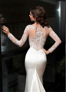 Image 4 - Elegant Satin Bateau Neckline Sheath Wedding Dresses With Lace Appliques Train Long Sleeves Bridal Dress