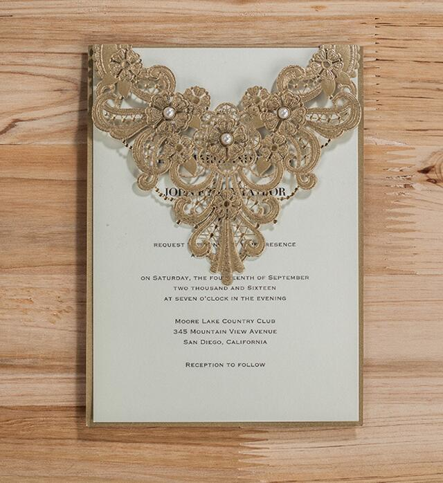 Gold luxurious lace wedding invitation cardspersonalized birthday gold luxurious lace wedding invitation cardspersonalized birthday menu invitations card party kits 100set free shipping in cards invitations from home stopboris Image collections