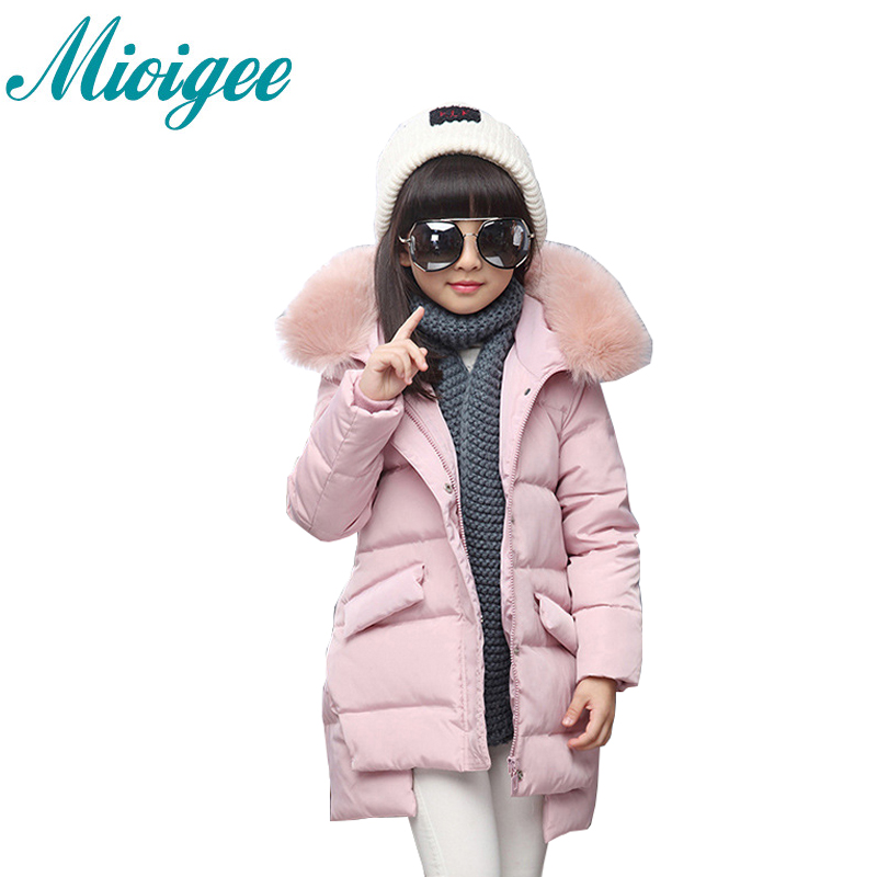 Mioigee 2017 jacket for girls winter down coat Fashion children high quality big virgin thick baby girl down coat kids clothes  цены онлайн