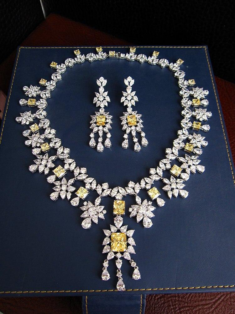 Offre spéciale mode AAA zircon cubique pierre jaune clair collier boucles d'oreilles ensemble de bijoux, robe de mariée de mariage, S8098