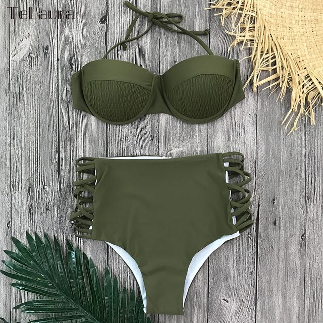 2018 High Waist Bikini Women Swimwear Push Up Swimsuit Bandage Bikini Set Biquini Hollow Out Bathing Suit Solid Swim Suit Female 3