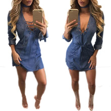 vestidos verano 2016 autumn dresses woman dress deep v enck long sleeve denim sexy club clothes for women mini tops tshirts