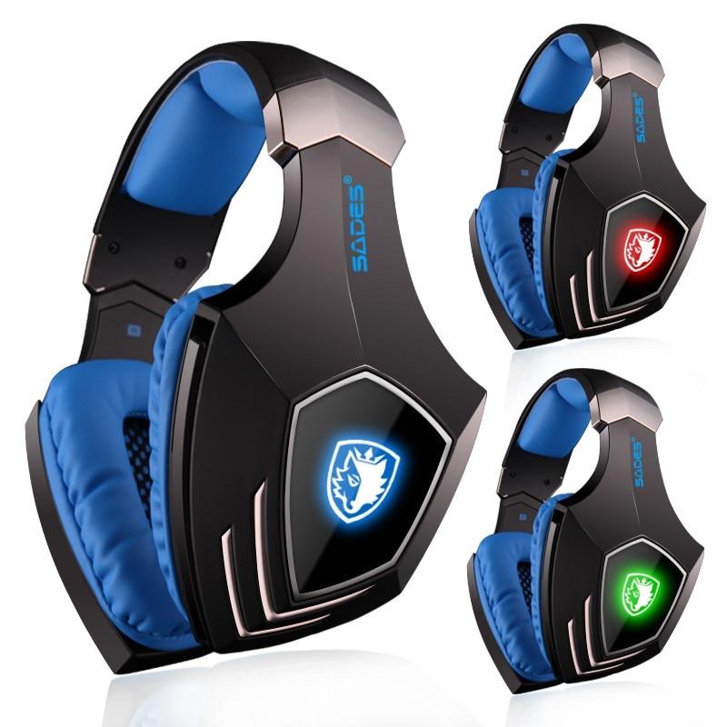 SADES A60 Spiel Headset 7,1 Surround Sound Pro Gaming Headset Gamer Vibration Funktion Kopfhörer Kopfhörer mit Mikrofon für PC Spiel