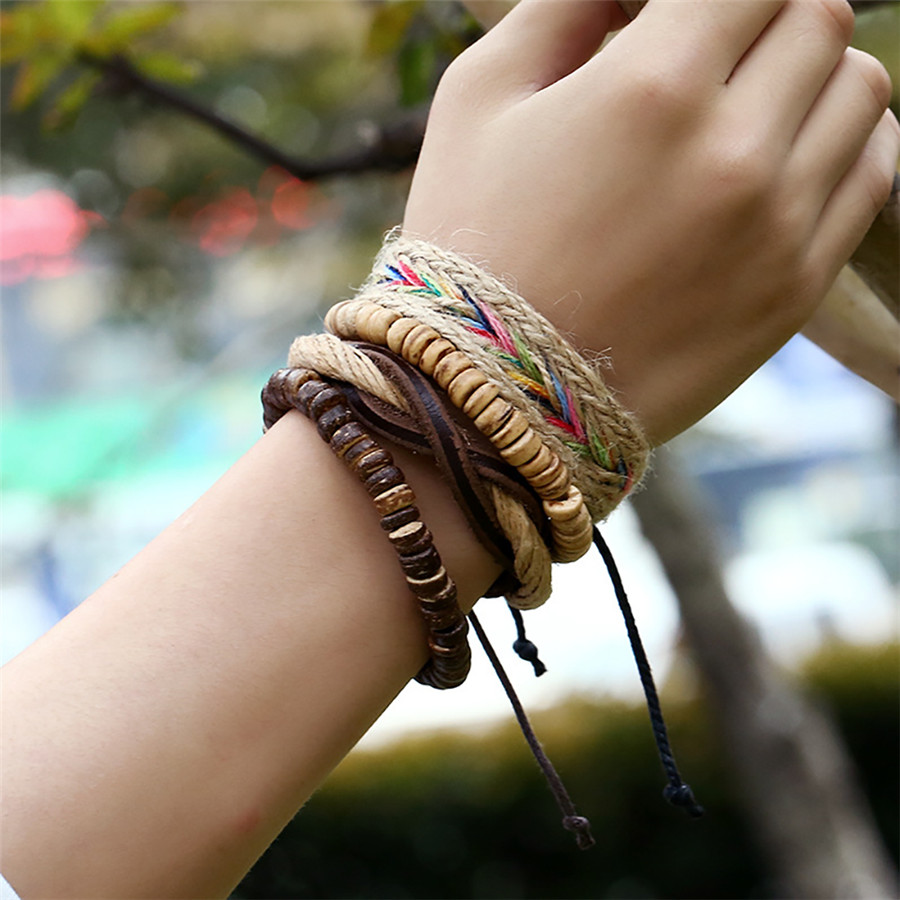 Hosaire The New First Layer Leather Braided Bracelet Exotic Style Hand-Woven Multi-Layer Leather Bracelet Jewelry