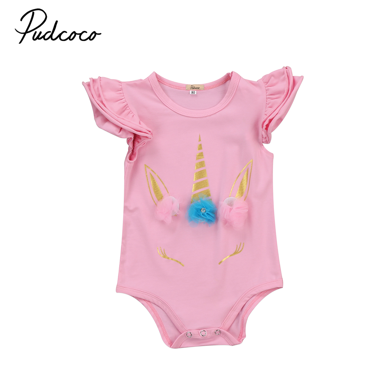 Baby unicorn Bodysuit Clothing New Newborn Baby Boy Girl Ruffles Bodysuits Clothes Infant Cotton Playsuitsuits Cartoon