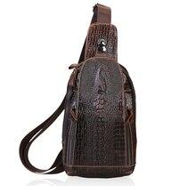 Echtes Leder Männer Umhängetasche Mode-Trend Krokodilleder Herren Crossbody Beutel Kaffee Brust Pack Männer Taschen 051 #
