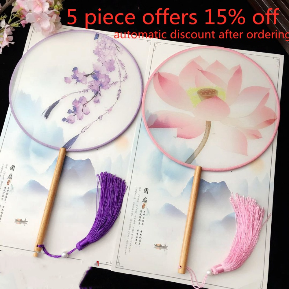 Hand painted Chinese Round Bridal Hand Fan Dance Fabric Lengthen Handle Silk Fan Ladies Costume Decorative Wedding Gift Fan