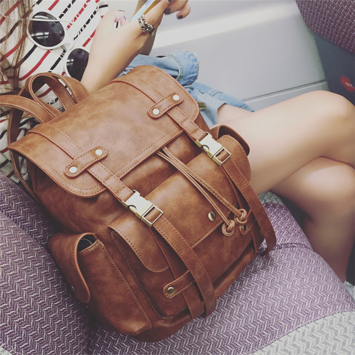 ФОТО Latest Women Vintage Leather Backpack Fashion Youth Feminine Casual School Bags For Teenage Girls Female Preppy Travel mochila