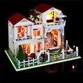 Большой размер поделки из дерева кукольный дом миниатюрный века верде вилла собраны 3D миниатюрный кукольный домик игрушки любовник подарки