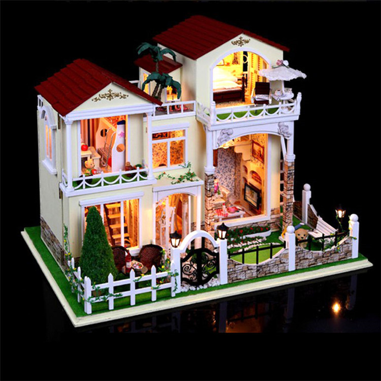 Large size DIY Wooden Doll House Miniature century Verde villa assembled 3D Miniature Dollhouse Toys lover