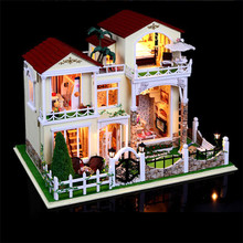 Large size DIY Wooden Doll House Miniature century  Verde villa  assembled 3D Miniature Dollhouse Toys lover Gifts