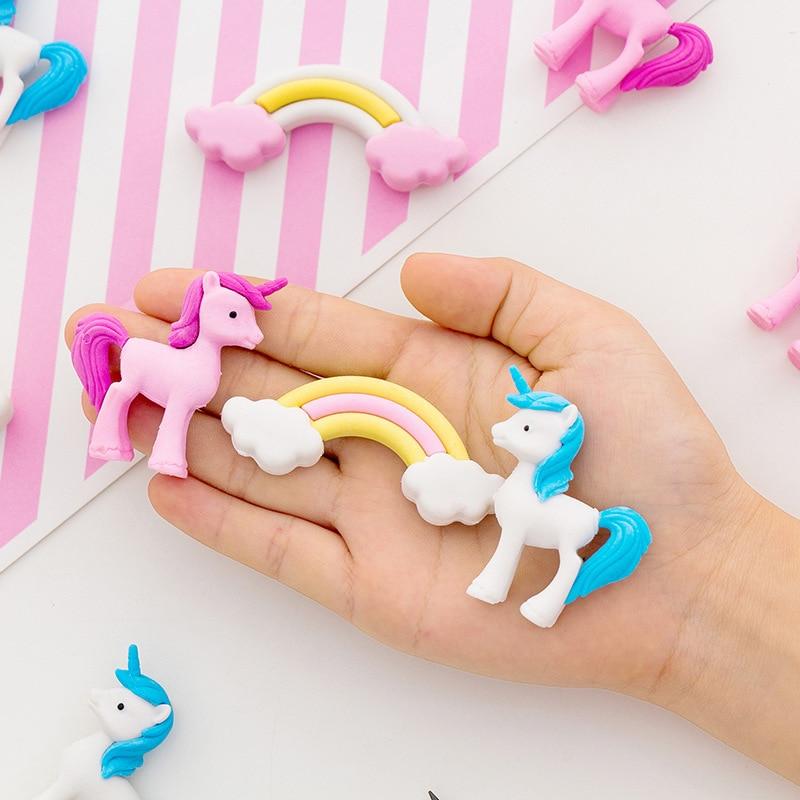 3 Pcs/pack Rainbow Unicorn Eraser Rubber Eraser Primary Student Prizes Promotional Gift Stationery