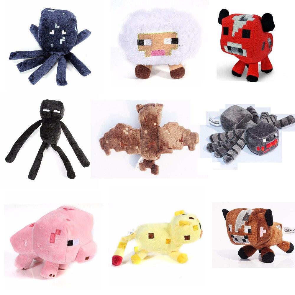 2017 New Minecraft Plush Toys Enderman Ocelot Pig Sheep Bat Mooshroom Squid Spider Wolf Animal soft stuffed dolls kids toy gift