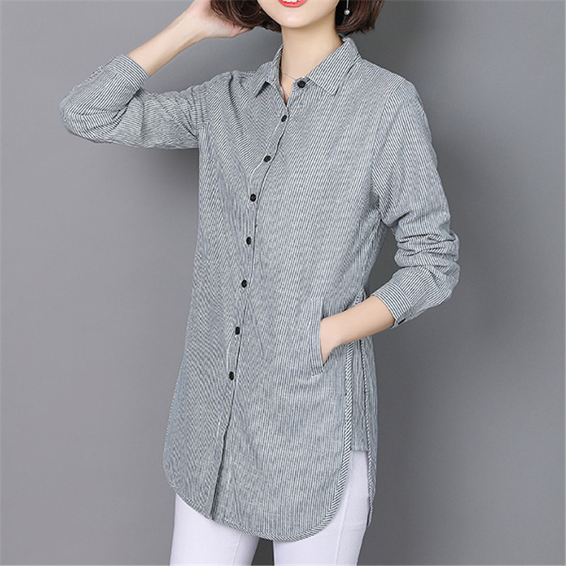 VogorSean 2018 Women Striped   Blouse     Shirt   Casual Loose   Shirt   Plus Size Spring Autumn Long Sleeve Office Ladies Clothing Tops