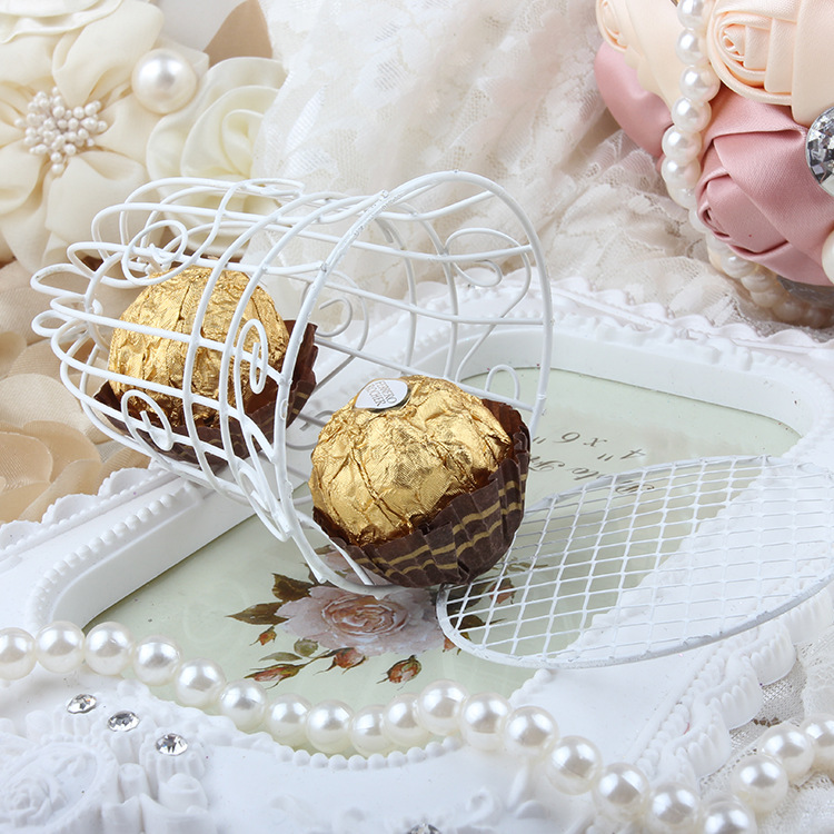 European romantic Bridal Wedding and party creative personality iron white candy box iron bell birdcage gift box candy boxes (7)