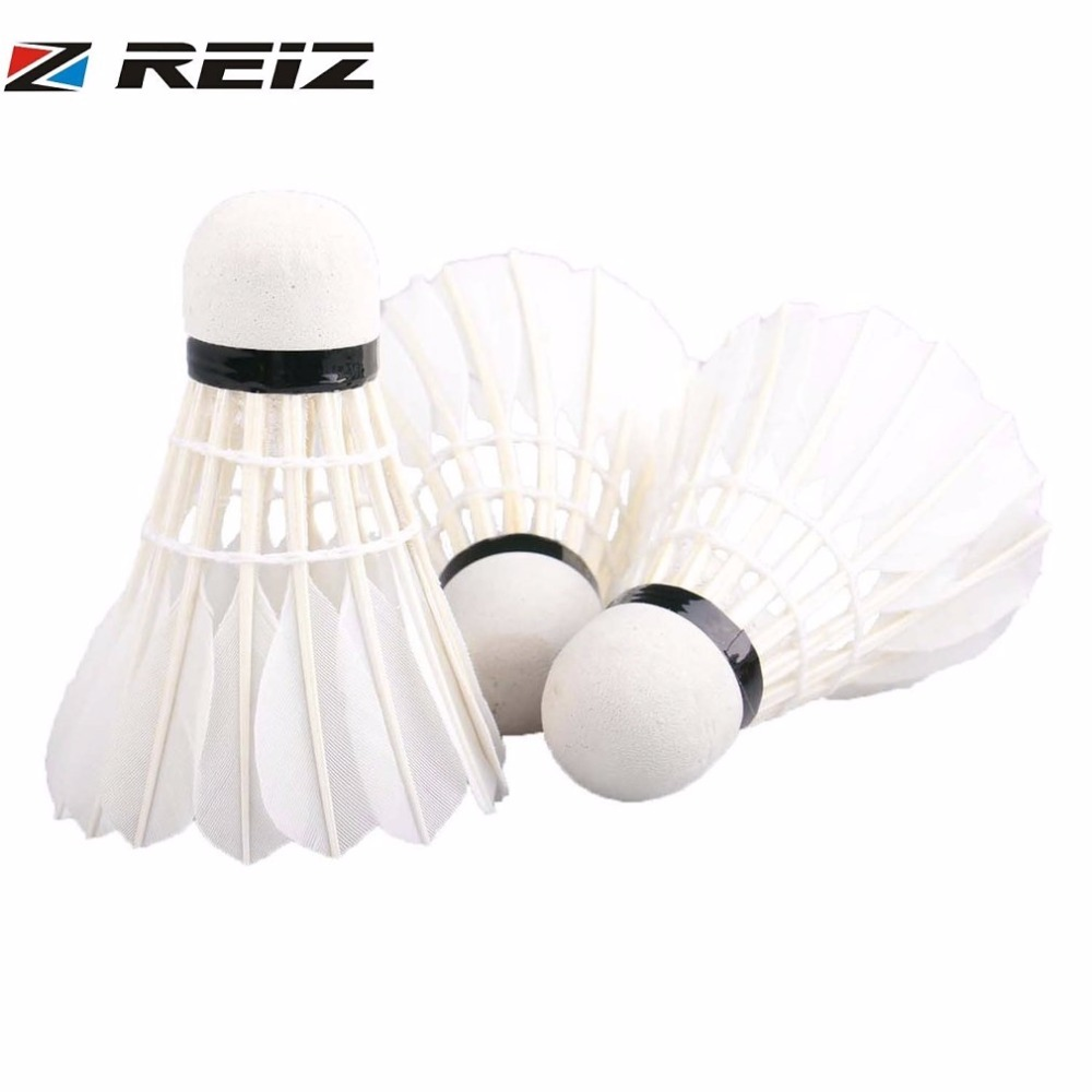 REIZ 6Pcs or 3Pcs/set Badminton Shuttlecocks Top Grade Training Badminton Ball  Natural Duck Feather For Sport Badminton ...