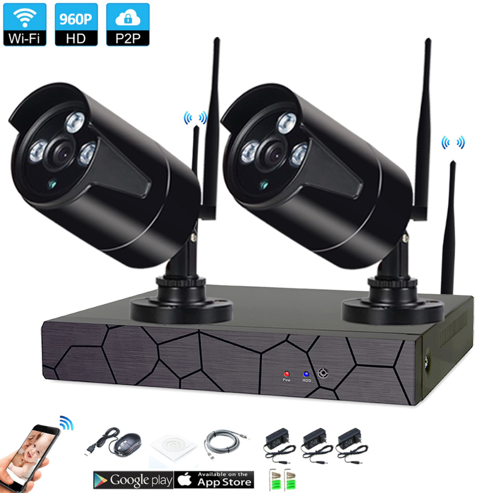 Plug and Play 2CH 1080P HD Wireless NVR Kit P2P 960P Indoor Outdoor IR Night Vision Security 1.3MP IP Camera WIFI CCTV SystemPlug and Play 2CH 1080P HD Wireless NVR Kit P2P 960P Indoor Outdoor IR Night Vision Security 1.3MP IP Camera WIFI CCTV System