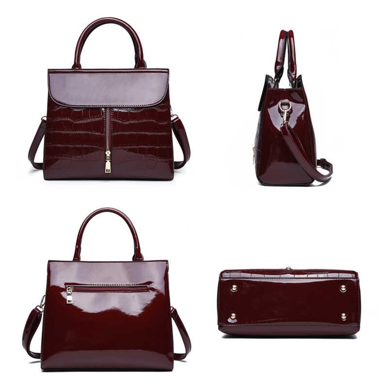 fcee3b280430 ... Burminsa камень узор для женщин лакированная кожа сумки 3 комплекта Женский  плеча курьерские сумки леди клатч ...