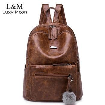 ec772f4b4a0f Бренд Винтаж рюкзак женский кожаный коричневый колледж Anti Theft для  женщин путешествия дамы Рюкзаки Большой Мягкий Mochila XA220H