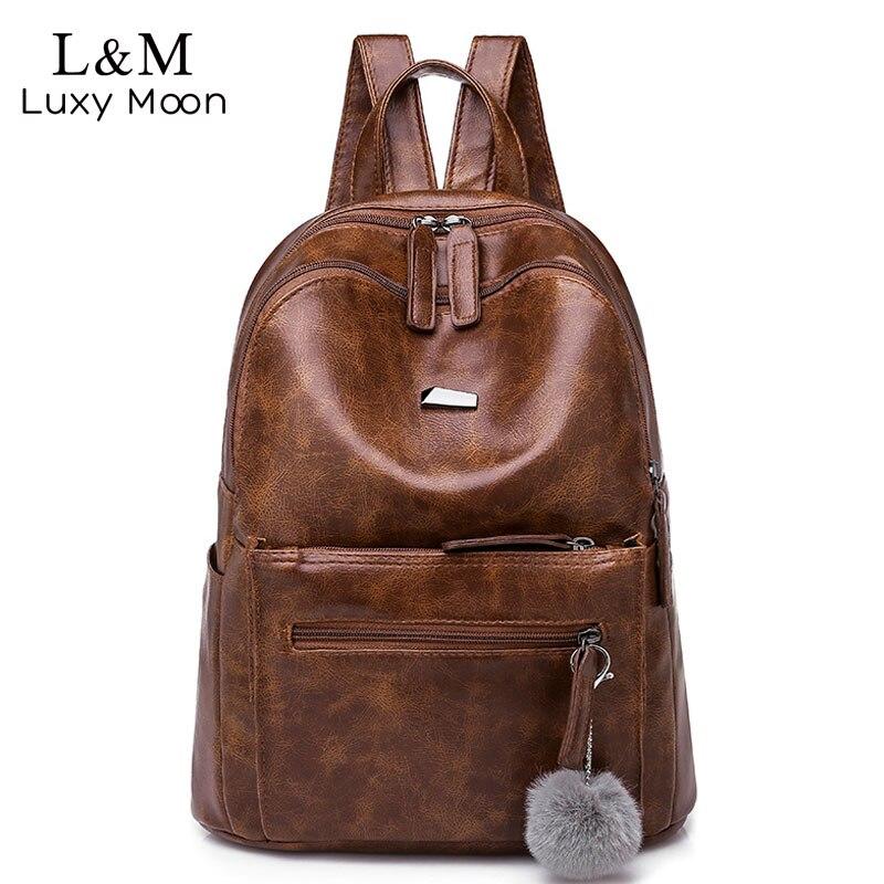 2f1c504321b Marca Mochila Vintage de mujer de cuero marrón de la Universidad Anti robo  Mochila de viaje de la mujer damas mochilas grande suave Mochila XA220H