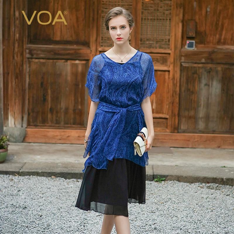 VOA 2018 été soie impression robes femmes mode Sexy mince bleu à manches courtes v-cou lâche grande taille Net fil 5XL robe A0116