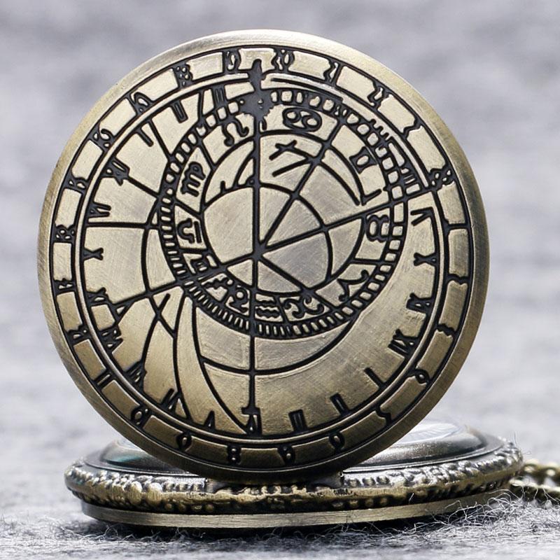 Relogio De Bolso (quartzo) Astrolabio Retro Compass Quartz Pattern Pendant Chain Pocket Watch Men Women Gifts P208