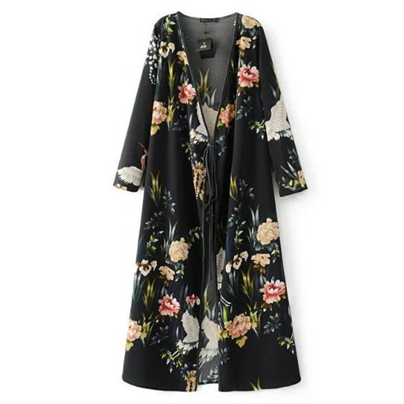 Women's Clothing 2017 Animal Crane Floral Print Tassel Strappy Waist Kimono Shirt Retro New Bandage Cardigan Blouse Tops Blusas Femme Black A Plastic Case Is Compartmentalized For Safe Storage