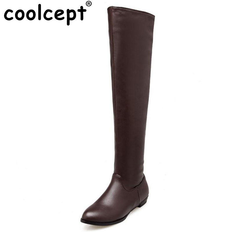 Coolcept Woman Classic Flat Boot Women Winter Boots Over Knee Long Botas Flat Sole Stretch Fabric Shoes Footwear Size 34-45