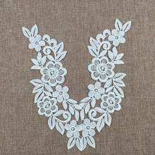 2Pcs Fashion Women's Flower Embroidery Lace Applique Bridal Gown Wedding Dress DIY Sewing Patch Black White(China)