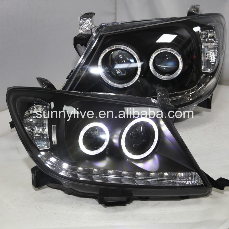 For TOYOTA HILUX VIGO LED Head Light LED Angel Eyes 2004-2010 Year CN