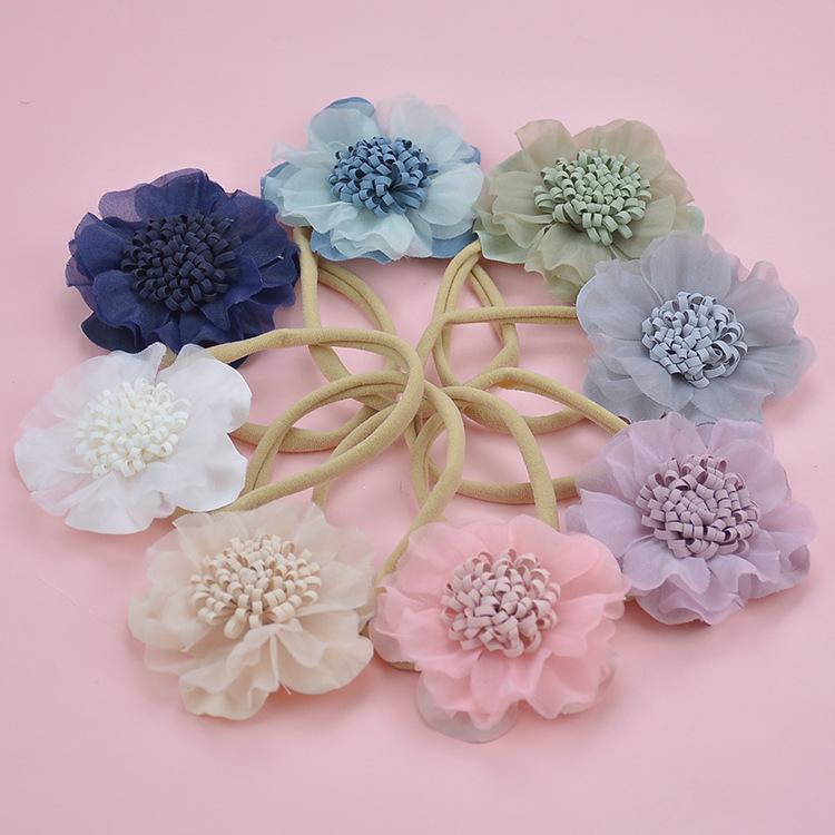 36pcs lot Newborn Girls Lace Flower Nylon Headbands Children Kids 2 6 Chiffon Flower on Skinny