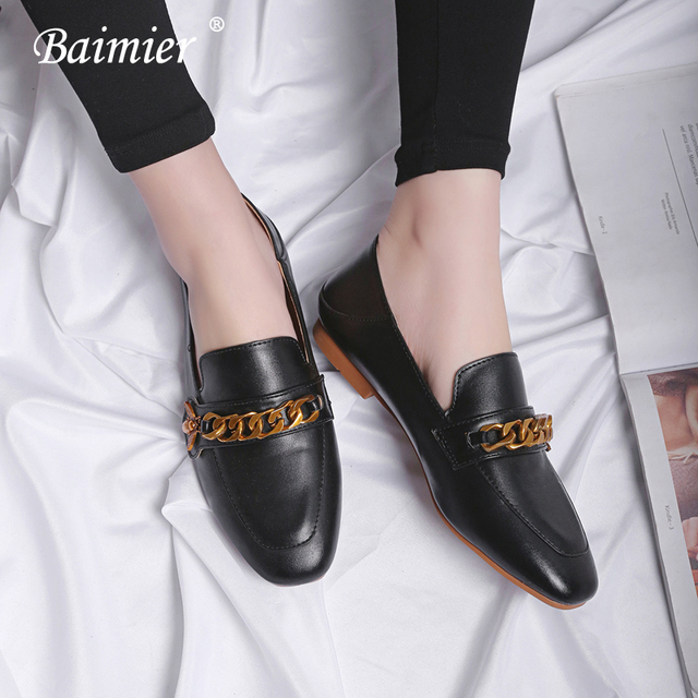 Baimier 2018 Spring Luxury Design Gold Chain Women Loafers British Style  Black Leather Shallow Flat Shoes Woman Plus Size 42 43