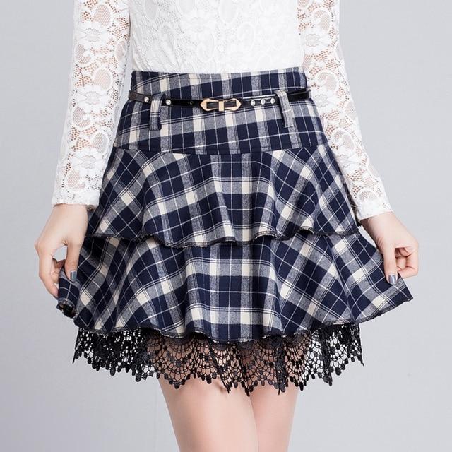 2018 printemps et automne jupe courte femelle dentelle jupe une jupe plissée  à carreaux jupe plus b1508a586d9e