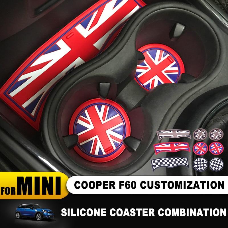 3pcs/lot Auto Interior Silica Gel Coffee Tea Cup Mat Anti-slip Coaster Pad For Mini Cooper F60 F 60 Countryman Car Accessories