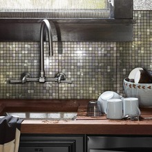 12x12 Glass Mix Puzzle Peel and Stick Tile Metal Backsplash for Bathroom Stove Walls Self-Adhesive 3D Wall Sticker 4 Packs