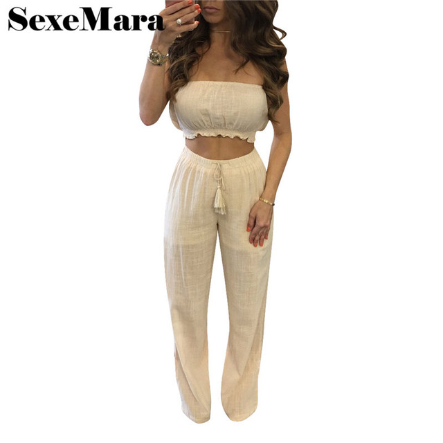 a7c4b2449eb Cotton linen ladies sexy pant suits 2017 summer strapless crop top and pants  white loose casual women two piece set D52-AB35