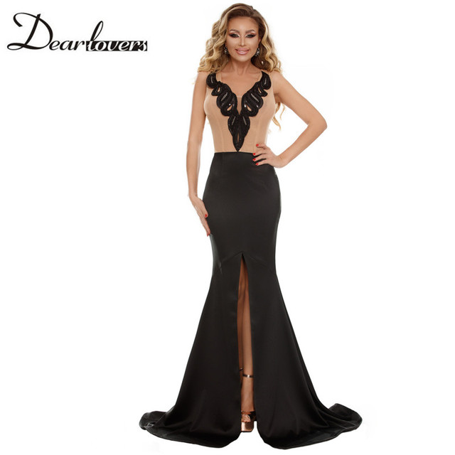 a04f1856c04d Dear lovers Elegant Women s Maxi Dresses Deep V-neck Sleeveless Nude Black  Mermaid Party Dress with Front Slit LC610267