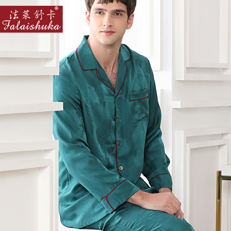 100% Mulberry Silk Pajamas Sets Men Sleepwear 19 Momme Genuine Silk Noble Leaf Male Pyjamas Elegant Pajamas Sets For Men T9041