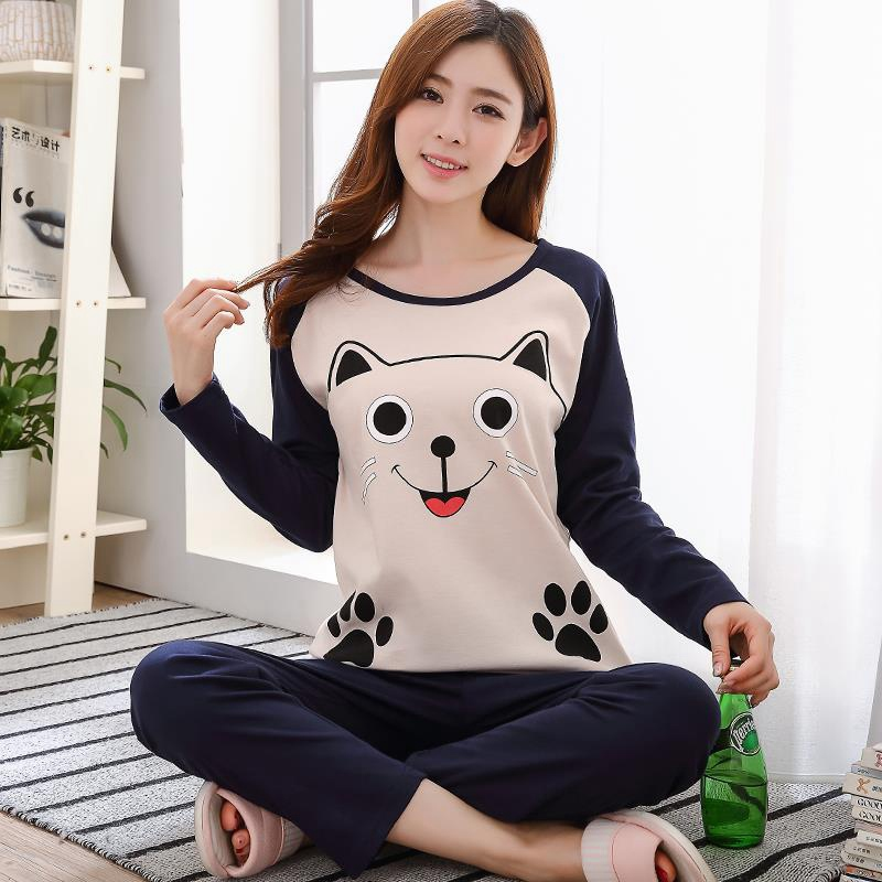 2019 Women Pajamas Set Cartoon Printed Sleepwear Long Sleeve Sets Soft Loose Home Clothes