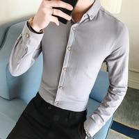 Men French Cufflinks Shirt 2018 New Men S Shirt Long Sleeve Casual Male Brand Shirts Slim