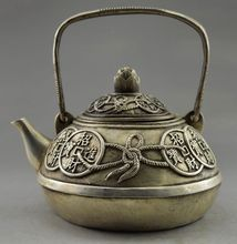 Collectible Decorated Old Handwork Tibet Silver Carved Bring Money Coin Tea Pot