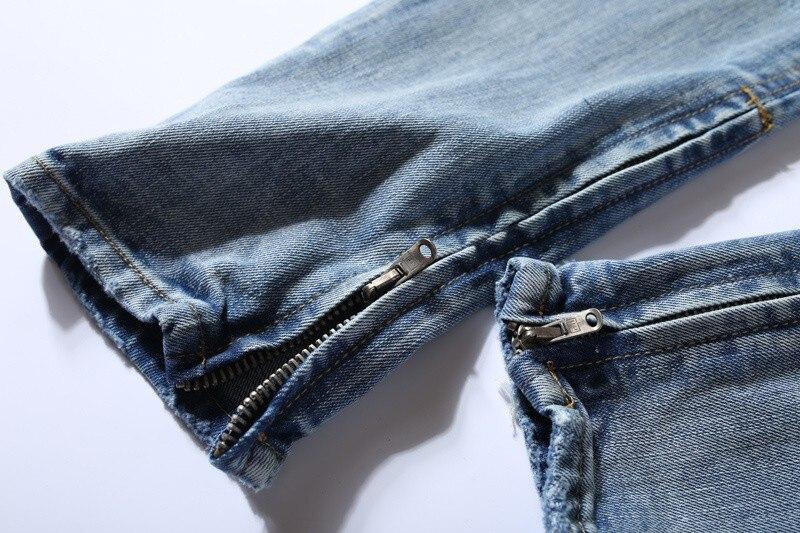 ac985324 Men high street destroyed slim fit ripped jeans mens hip hop ankle zipper  biker denim pants justin bieber jeans streetwear-in Jeans from Men's  Clothing on ...