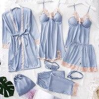 2019 Women Pajamas 8 Pieces Satin Sleepwear Pijama Silk Home Wear Home Clothing Embroidery Sleep Lounge Pyjama with Chest Pads