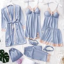 Pijama de satén de 8 piezas para mujer, Pijama de seda para el hogar, ropa de casa, Pijama bordado para dormir con almohadillas para el pecho